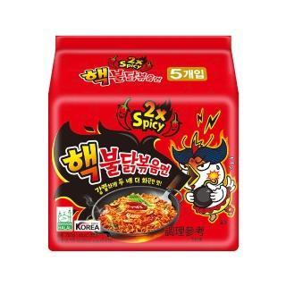 【Samyang三養】激辛火辣雞肉風味鐵板炒麵-2倍辣特別版(140g*5入)
