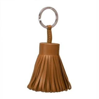 【HERMES】流蘇造形山羊皮鑰匙圈手袋吊飾(摩卡棕H327108A-MOCHA)
