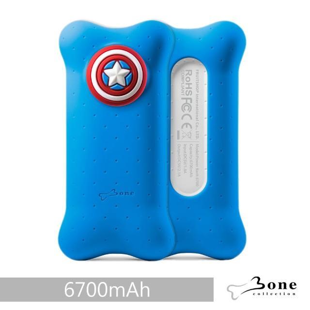 【Bone】泡泡行動電源 6700mAh - 美國隊長(迪士尼授權 無毒認證矽膠 充電器)