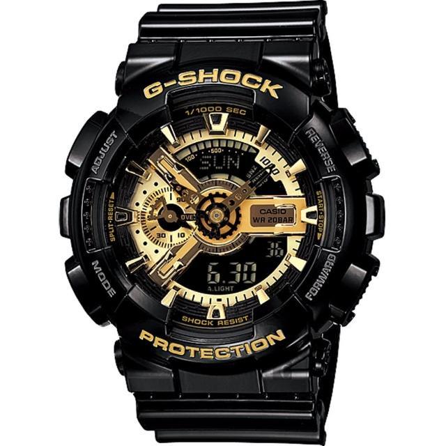 【CASIO】卡西歐 G-SHOCK 黑金重機雙顯錶(GA-110GB-1ADR)