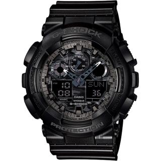 【CASIO】卡西歐 G-SHOCK 迷彩叢林雙顯錶-灰(GA-100CF-1ADR)