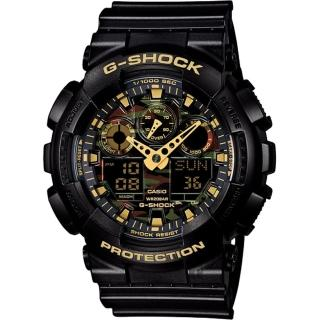 【CASIO】卡西歐 G-SHOCK 迷彩叢林雙顯錶(GA-100CF-1A9DR)