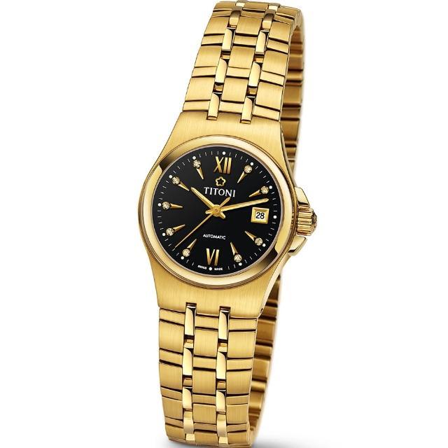 【TITONI 瑞士梅花錶】Impetus 動力系列-黑色錶盤金色鍊帶錶帶/27mm(23730 G-515)
