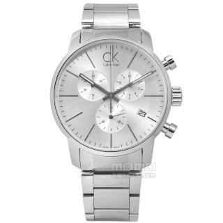 【Calvin Klein】CITY優雅光環三環計時不鏽鋼手錶 銀色 43mm(K2G27146)