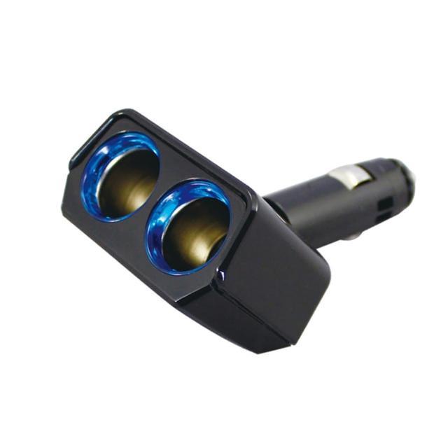 【日本YAC】可90度調整LED冷光雙孔插座PZ-735(汽車|擴充器|充電器)