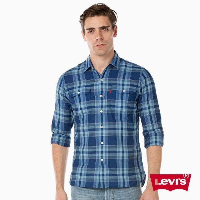 【Levis】WORKER 長袖襯衫 / 藍色格紋
