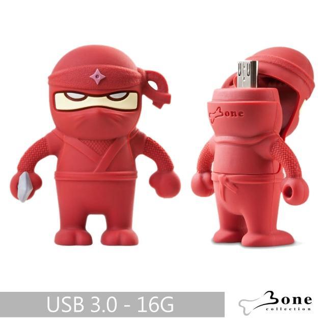 【Bone】忍者雙頭隨身碟-紅(16G)