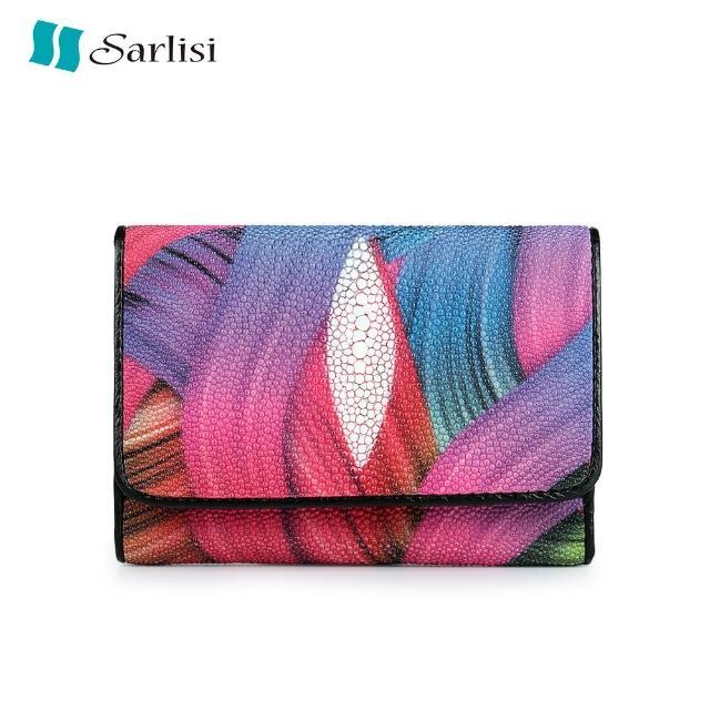 【Sarlisi】【歷史最低價 買到賺到】時尚珍珠魚皮短夾皮夾三折花色(原價3980現價3280)