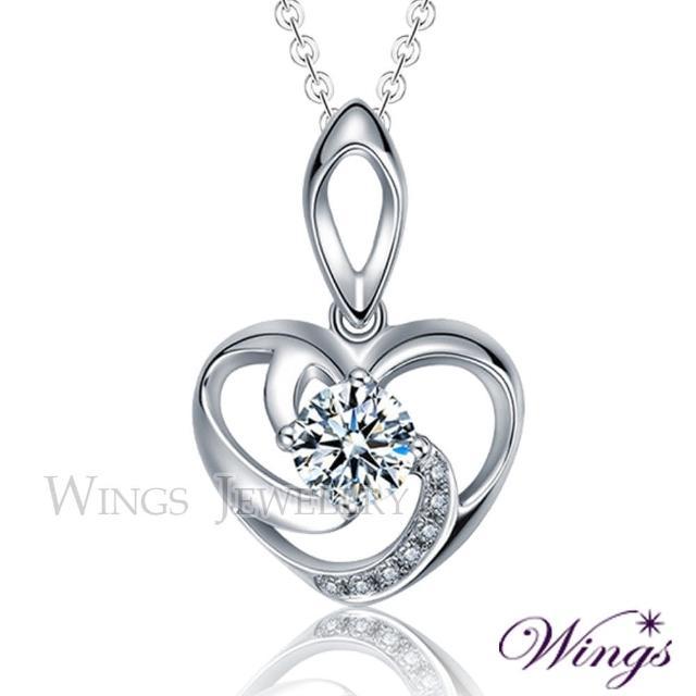 【WINGS】愛存在 925純銀精鍍白K金 八心八箭方晶鋯石項鍊(擬真鑽 鋯石 心型 禮物)