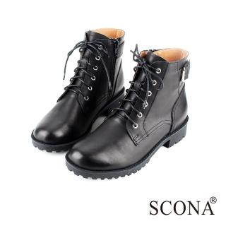 【SCONA 蘇格南】全真皮 經典扣飾綁帶短靴(黑色8769-1)