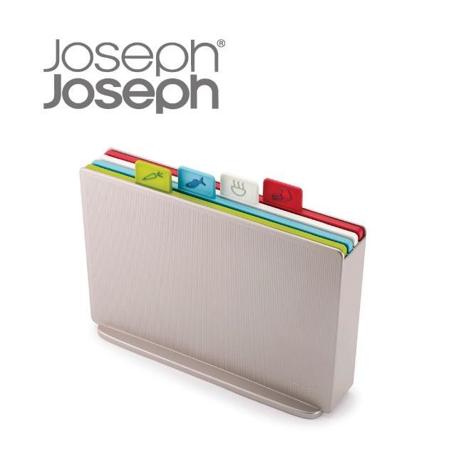 【Joseph Joseph】檔案夾止滑砧板組-雙面附凹槽(大銀-60134)