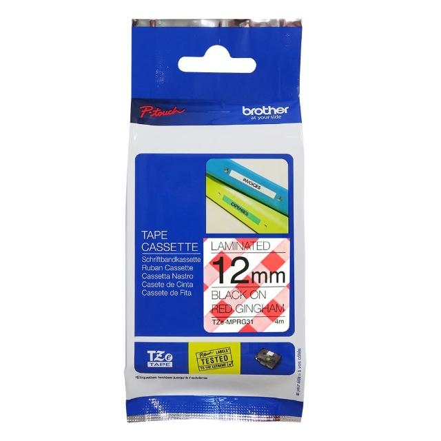 【Brother】TZe-MP RG31 創意護貝標籤帶  12mm 俏紅格紋(速達)