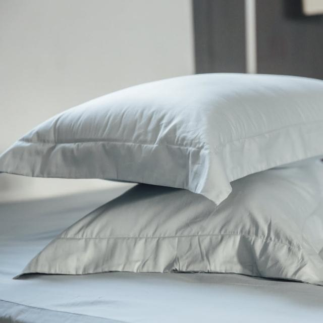 【LAMINA】純色-淺灰藍 精梳棉枕頭套(2入)