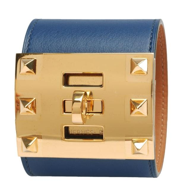 【HERMES】Kelly Dog Extreme鉚釘轉釦小牛皮寬手環(S-寶藍X金-R年H066856-BLUE-OR)