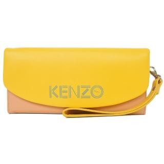 【KENZO】雙色皮革翻蓋長夾 附手掛帶(黃駝)