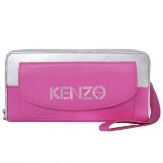 【KENZO】前口袋雙色ㄇ字拉鍊長夾 附手掛帶(粉銀)