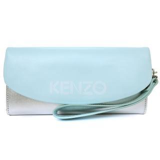【KENZO】雙色皮革翻蓋長夾 附手掛帶(銀水藍)