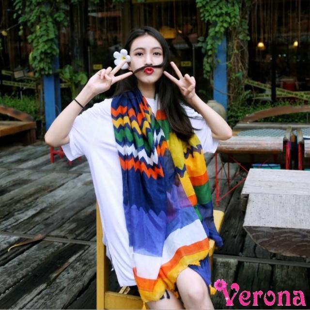 【Verona】亮麗多彩波浪條紋流蘇棉麻絲巾圍巾披肩