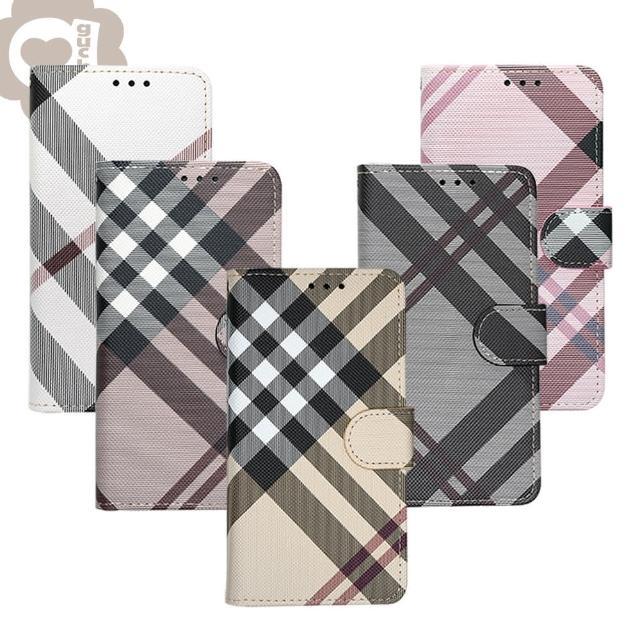 【Apple】iPhone 7 Plus/8 Plus 共用 英倫格紋氣質手機皮套 側掀磁扣支架式皮套 矽膠軟殼(5色可選)