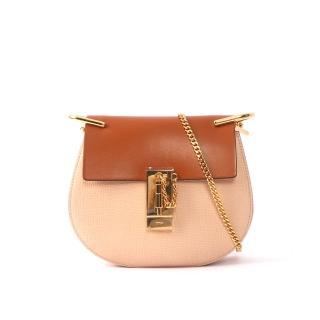 【CHLOE】山羊皮金鏈mini drew bag(焦糖色拼粉色)