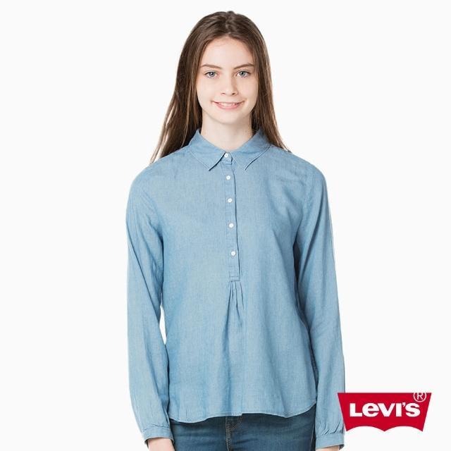 【Levis】女款長袖牛仔襯衫 / 半開襟鈕扣