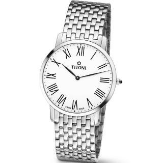 【TITONI 瑞士梅花錶】Slenderline 纖薄系列-白色錶盤不鏽鋼錶帶/38mm(TQ 52918 S-584)
