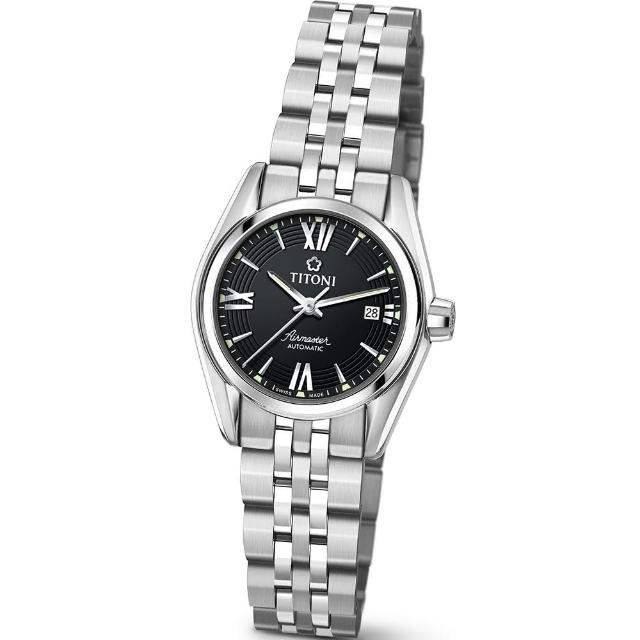 【TITONI 瑞士梅花錶】Airmaster 空中霸王系列-黑色錶盤不鏽鋼錶帶/27mm(23909 S-343)