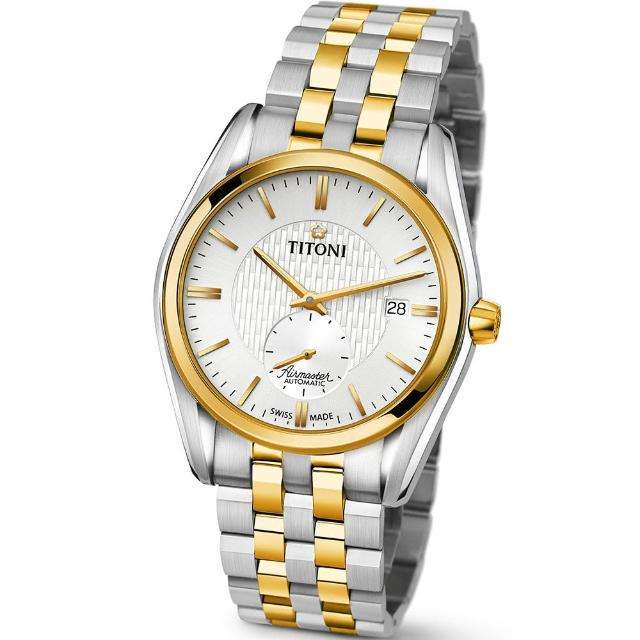 【TITONI 瑞士梅花錶】Airmaster 空中霸王系列-銀白色錶盤不鏽鋼間金色錶帶/40mm(83709 SY-500)