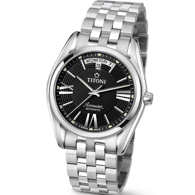 【TITONI 瑞士梅花錶】Airmaster 空中霸王系列-黑色錶盤不鏽鋼錶帶/40mm(93909 S-343)