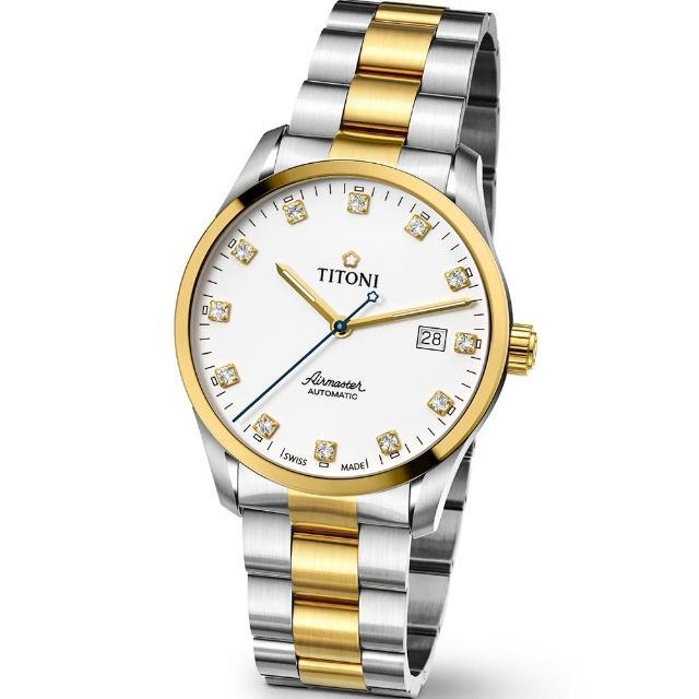 【TITONI 瑞士梅花錶】Airmaster 空中霸王系列-白色錶盤不鏽鋼間金色錶帶/39mm(83743 SY-582)