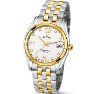 【TITONI 瑞士梅花錶】Airmaster 空中霸王系列-白色錶盤不鏽鋼間金色錶帶/38.5mm(83909 SY-063)
