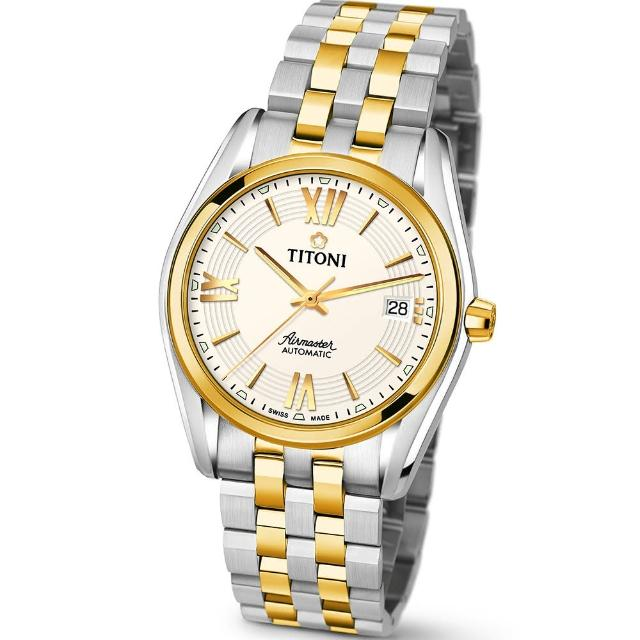 【TITONI 瑞士梅花錶】Airmaster 空中霸王系列-米白色錶盤不鏽鋼間金色錶帶/38.5mm(83909 SY-342)
