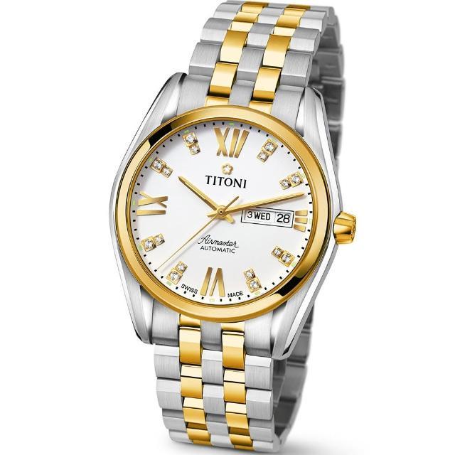 【TITONI 瑞士梅花錶】Airmaster 空中霸王系列-白色錶盤不鏽鋼間金色錶帶/40mm(93709 SY-385)