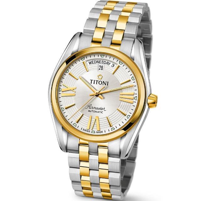 【TITONI 瑞士梅花錶】Airmaster 空中霸王系列-銀白色錶盤不鏽鋼間金色錶帶/40mm(93909 SY-342)