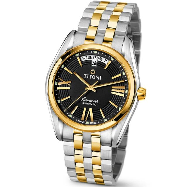 【TITONI 瑞士梅花錶】Airmaster 空中霸王系列-黑色錶盤不鏽鋼間金色錶帶/40mm(93909 SY-343)