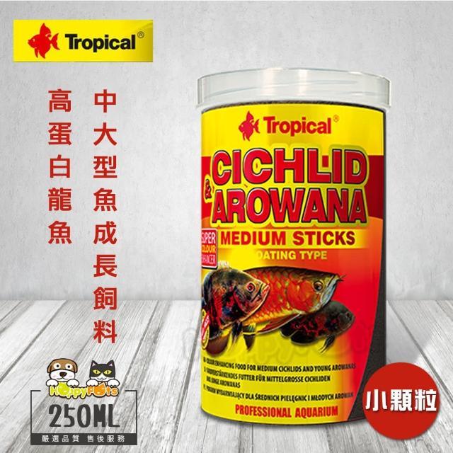 【Tropical】德比克 高蛋白龍魚、中大型魚成長飼料 小顆粒(250ml)