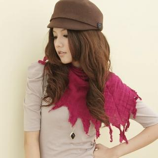 【I-shi】波西米亞三角圍巾(深桃紅)