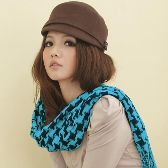 【I-shi】暖呼呼-日系千鳥格厚款長圍巾(藍黑)