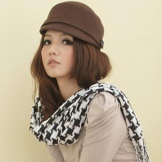 【I-shi】暖呼呼-日系千鳥格厚款長圍巾(黑白)