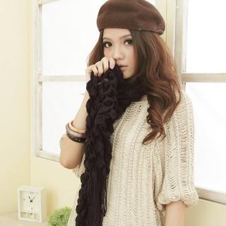 【I-shi】暖呼呼-毛線泡泡厚款圍巾(黑)