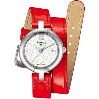 【TISSOT】天梭 Pinky 戀人絮語真鑽腕錶-珍珠貝x紅/28mm(T0842101611700)