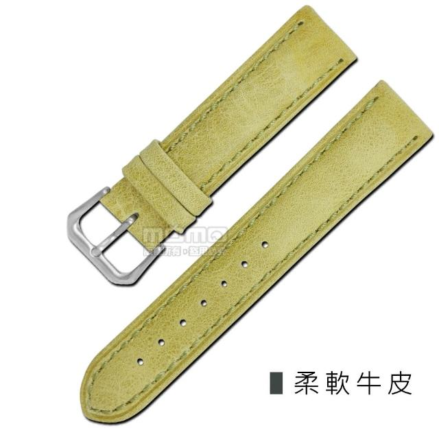 【Watchband】各品牌通用柔軟簡約質感車線牛皮錶帶(芥綠色)