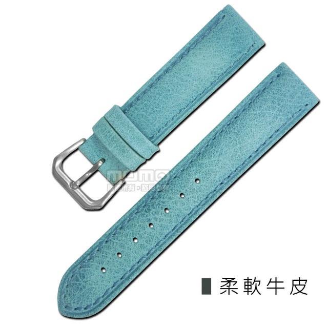 【Watchband】各品牌通用柔軟簡約質感車線牛皮錶帶(藍色)
