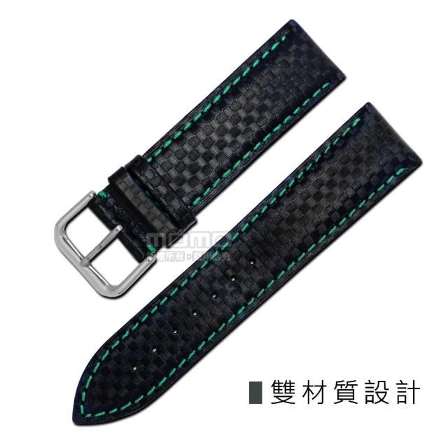 【Watchband】時尚指標仿碳纖維雙材質錶帶(黑綠色)