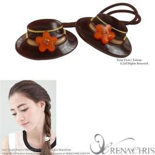 【Rena Chris】小禮帽雙頭髮束(Brown)