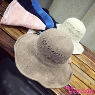 【Verona】雜誌款簍空花紋大帽檐棉麻草帽漁夫帽