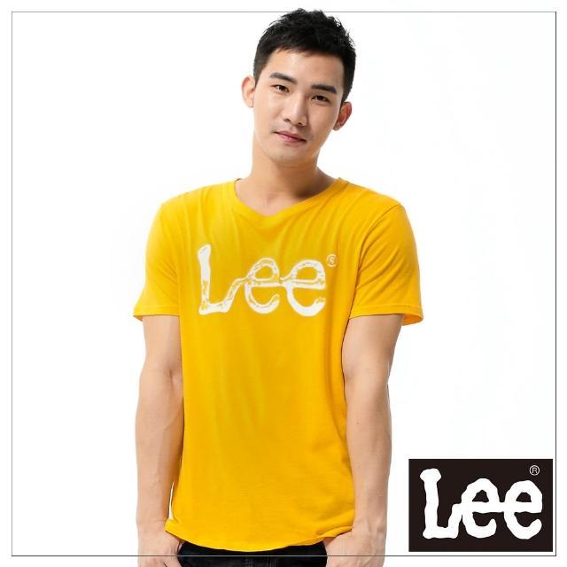【Lee】短袖T恤 白LOGO噴漆印刷 -男款-橘黃(短袖)