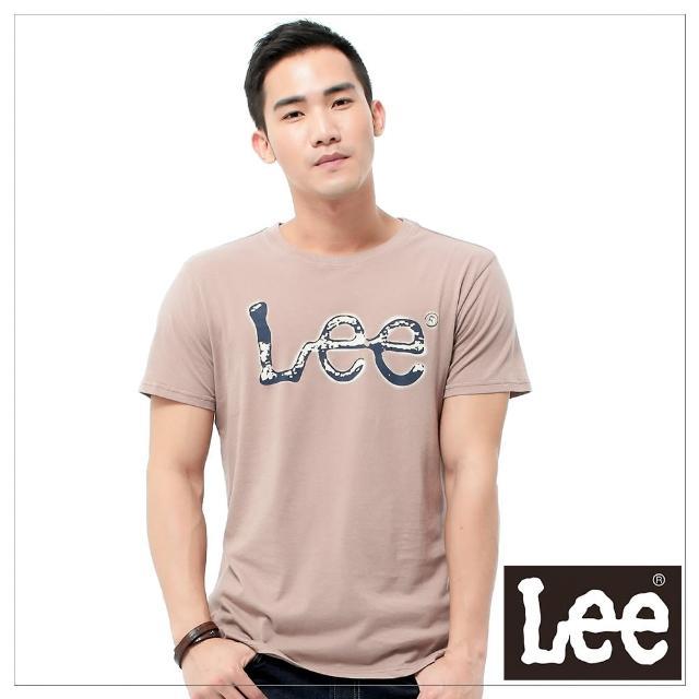 【Lee】短袖T恤 深藍色LOGO噴漆印刷 -男款-藕色(短袖)