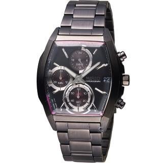 【WIRED 雅柏】日系潮流炫彩三眼計時酒桶型腕錶(VR33-0AB0B 藍 AY8013X1)