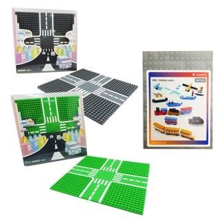 【Tico微型積木】城市道路底板-公園綠+柏油灰+零件補充包(9907-A+9907-B+9901)